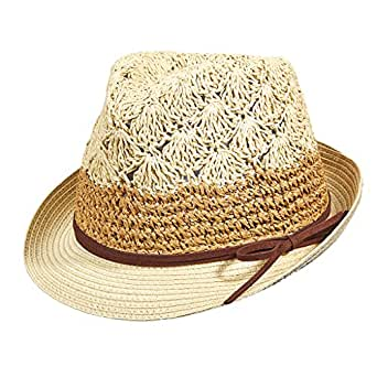 .com: Dorfman Pacific Women's Crocheted Fedora, Natural: Clothing