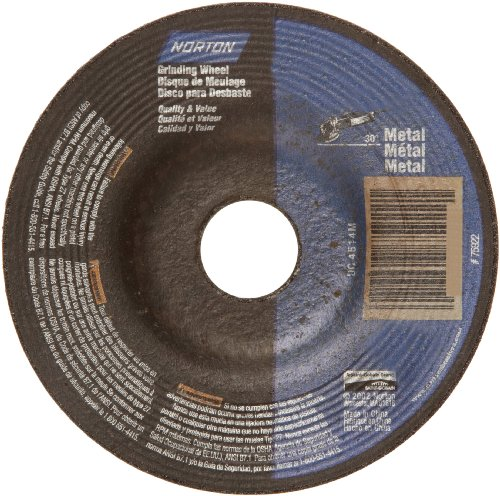 "Norton Metal Depressed Center Abrasive Wheel, Type 27, Aluminum Oxide, 5/8"" Arbor, 4"" Diameter x 1/4"" Thickness (Pack of 5)"