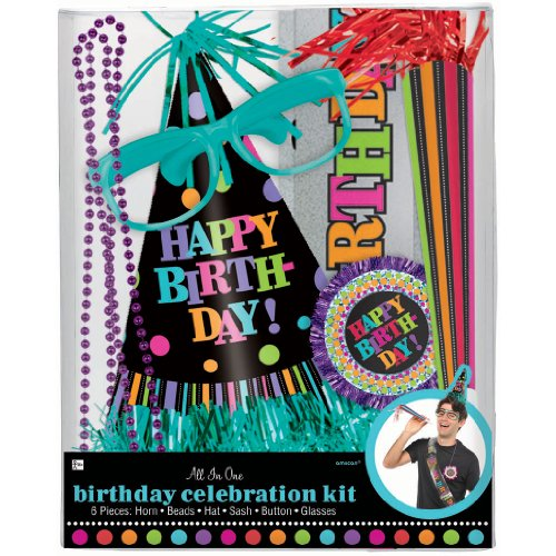 Amscan Party On Birthday Celebration Party Kit, Multicolor