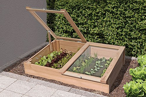 Gartenwelt Riegelsberger Frühbeet aus Lärchenholz 119 x 80 x H21/30 cm Kräuterbeet für Balkon und Terrasse von Gartenwelt Riegelsberger 61063
