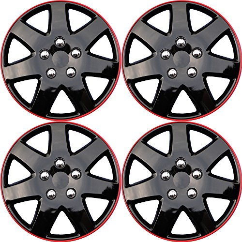 Hubcaps for Chrysler Sebring, 03-05 Ice Black Red Auto Hub Covers, OEM Genuine Factory Aftermarket Raplacement, Snap On - Fits 16