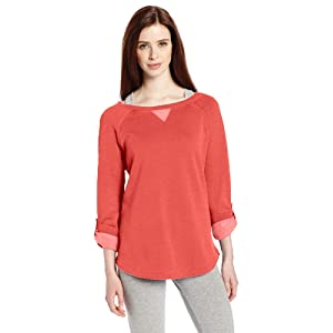 Calvin Klein Performance Women's Distressed Fleece Roll Tab Sweatshirt, Nectarine, X-Large