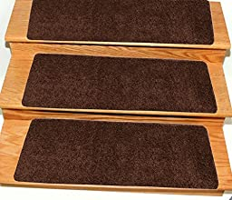 Ottomanson Comfort Collection Soft Solid (Non-Slip) Shag Carpet Stair Treads, 14 Pack, 9\