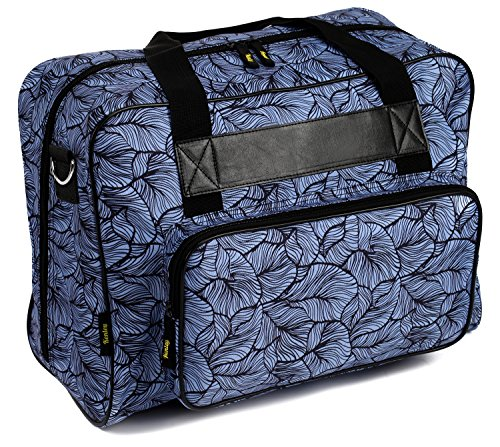 Kenley Sewing Machine Tote Bag - Padded Storage Cover Carrying Case with Pockets and Handles - Universal Fit 18x10x13 inches for Janome Brother Singer - Midnight Flowers (Sewing Machine 9100 compare prices)