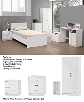 Marina Trio Set, 9 Colour Combinations, Wardobe Chest of Drawers and Bedside (White 2 Tone)