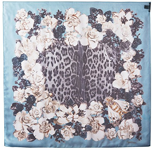 Roberto-Cavalli-Womens-Patterned-Scarf-BrownBlueWhite