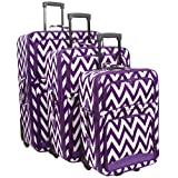 Ever Moda Purple Chevron 3 Piece Expandable Luggage Set
