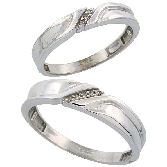 Sterling Silver 2-Piece Diamond Wedding Band Set, His (5mm) & Hers (3.5mm)