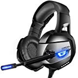 ONIKUMA Stereo Gaming Headset PS4, Xbox One, PC, Enhanced 7.1 Surround Sound, Updated Noise Cancelling Mic Headphones, Soft Breathing Earmuffs, Mute & Volume Control Nintendo Switch Laptop
