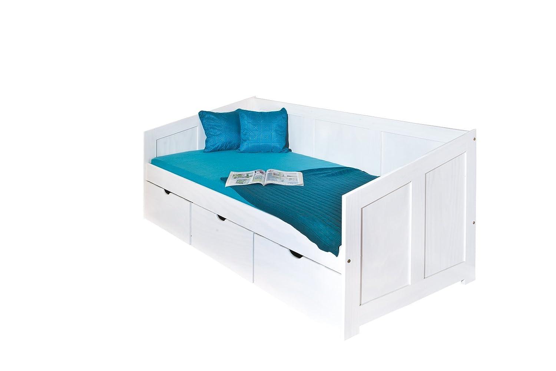 Links 20900190 Bett 90×200 cm Kinderbett Funktionsbett Stauraumbett massiv Schubladen, weiß jetzt kaufen