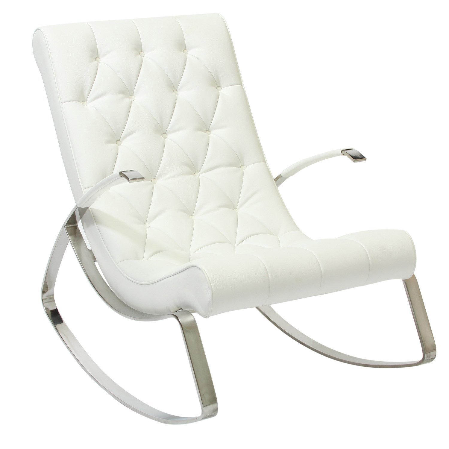 Cupola tufted white leather rocking chair for White chair
