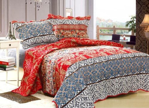 High Quality New 3 Pcs Royal Red Queen Size 100% Polyester Bedspread Quilt Coverlet Ensemble Set By Big 7 Home front-1073493
