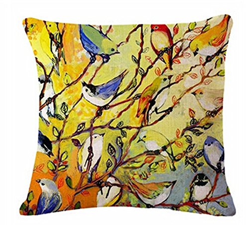 Oil Painting Hundreds of Birds Cotton Linen Throw Pillow Case Cushion Cover Home Sofa Decorative 18 X 18 Inch (1)