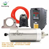 VFD CNC Spindle Motor Kits:110V 1.5KW VFD+110V 1.5KW 3 bearings Water Cooled Spindle Motor+110V 75W Water Pump+80mm Motor Clamp Mount+5m Water Pipe (110V-1.5KW VFD,1.5kw 3 bearings motor) (Color: 110v-1.5kw, Tamaño: 110V-1.5KW VFD)