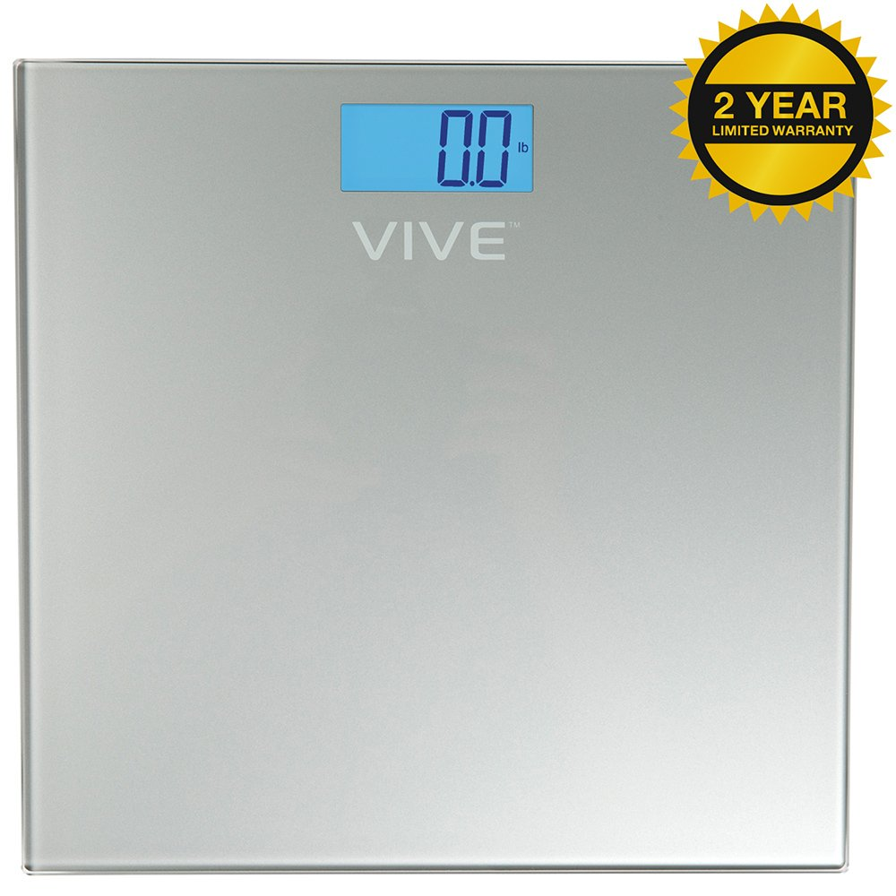 Vive Precision Digital Bathroom Scale - Heavy Duty Electric Body Weight Measuring Device - Home Bath Scale, Easy to Read, Backlit Display - Accurate Dietary Weighing (Silver)