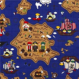 cute blue treasure map pirate fabric children Kokka (per 0.5m multiple)