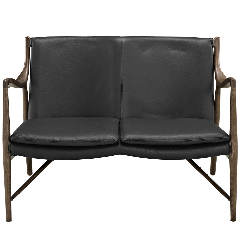 Makeshift Leather Loveseat - Walnut Black