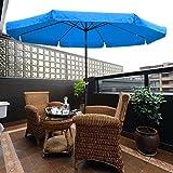 10ft Aluminum Outdoor Patio Umbrella w/ Crank Tilt Deck Market Yard Beach Pool Cafe (Blue)