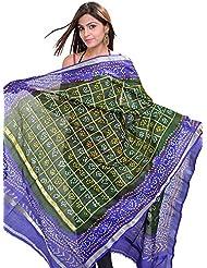 Exotic India Kombu-Green Bandhani Tie-Dye Gharchola Dupatta From Gujarat - Green