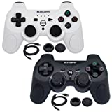BlueLoong 2 Pack PS3 Controller Wireless SIXAXIS Double Shock Remote Dualshock Gamepad for PlayStation 3 with Charge Cable (Color: Black & White)