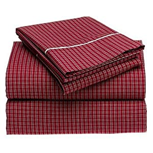 nautica tattersall red twin extra long fitted sheet pillowcase and sheet sets. Black Bedroom Furniture Sets. Home Design Ideas