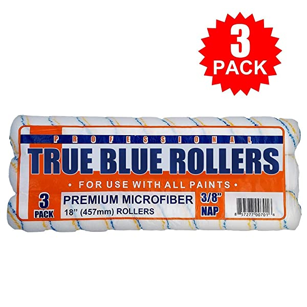 True Blue Professional Paint Roller Covers, Best for All Types of Paint (3, 18 x 3/8) (Tamaño: 18 x 3/8)