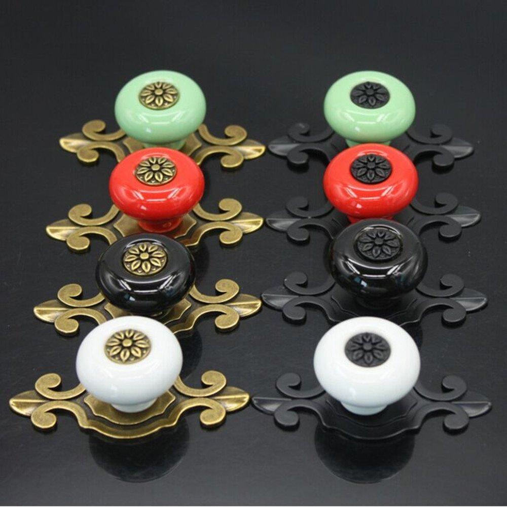 SunKni 8Pcs Vintage Ceramic Knobs Handles Pulls for Cabinet Drawer Closet Dresser Cupboard Wardrobe Furniture Door Kitchen (Multi) 0