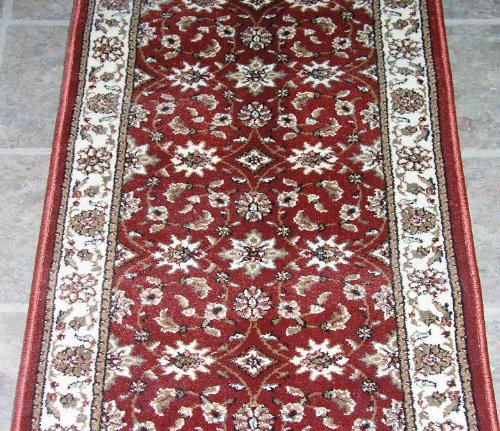"140558 - Rug Depot Traditional Stair Runner - Hallway and Stairrunner ON SALE - 25"" Wide Hallrunner - HALL RUNNER IS PRICED PER LINEAR FOOT - Brick Red - FREE Serging Applied on All Lengths - Stairrunner is Machine-Made of 100% Olefin"