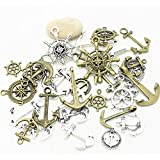 38 PC Nautical Anchor Charm Pendant Random Mix Lot, Sailor Navy Jewelry Making DIY (Two Color)