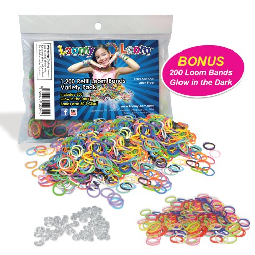 1200 Loom Bands Value Pack Refill - Loomy Loom 1200 Silicone Rubber Bands REFILL VARIETY PACK Including 200 Glow in the Dark Loom Bands and 50 Clips - Works with all Rainbow Loom Bands Kit - 100% Silicone, Latex & Lead Free - 100% SAFE FOR KIDS! - 100% SATISFACTION GUARANTEE OR YOUR MONEY BACK!!! - 1