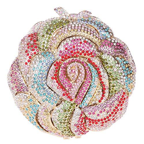 Fawziya Blooming Rose Clutch Purse Luxury Flower Crystal Clutch Evening Bag-Multicolor