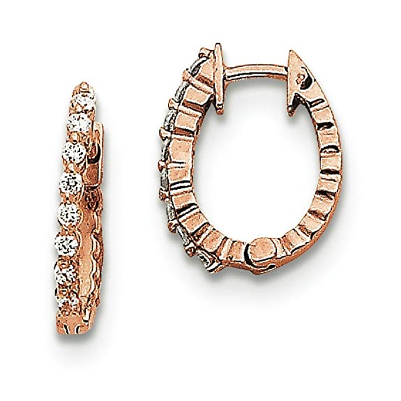 14ct Rose Gold Diamond Hinged Hoop Earrings