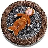 Sunmig Newborn Baby Photo Props Faux Fur Mat Rug Photography Background Backdrops Basket Stuffer Blanket (Dark...