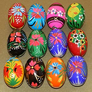 12 polish wooden eggs pysanky wooden easter hand painted - Painted wooden easter eggs ...