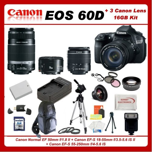 Canon EOS 60D DSLR Camera Kit with 3 Canon lenses Featuring Canon EF S 18 55mm f 3 5 5 6 IS II Canon Normal EF 50mm f 1 8 II Canon EF S 55 250mm f 4 5 6 IS Also Includes 0 45x High Definition Wide Angle Lens and 2x Telephoto HD Lens 3 Piece Filter Kit and