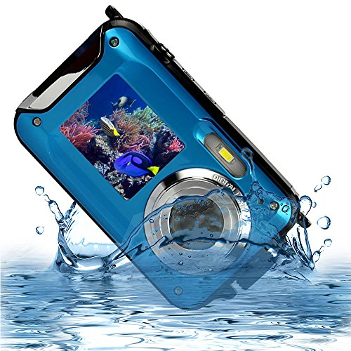 MARVUE HDV-801 Underwater Shockproof Digital 24MP Camera & Camcorder Dual Full-Color LCD Displays FHD 1080p Free-casing Self Timer Photo Video Recorder Rechargeable Battery (blue)