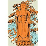 The Racoon Gold Standing Buddha Poster Laminated Matte Finish, Small (18 X 12 In)