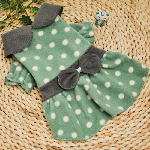 One Tail Four Paws Little Polka Dot Pet Dress, Medium, Apple Green