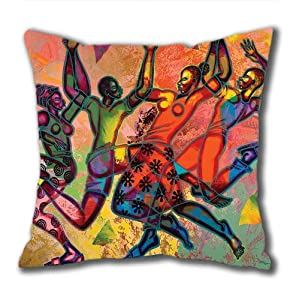 Illustration Painting Rainy Night-117th And Detroit Standard Size Design Square Pillowcase/Cotton Pillowcase with Invisible Zipper in 40*40CM 16*16(527)-527120 by Square Pillowcase