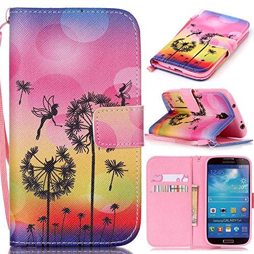 アイビー Samsung Galaxy サムスン ギャラクシー S4(i9500)SC-04E SIV 対応ケース 「夕日・タンポポ」 PUレザー 手帳型カバー ケース ストラップ付き IDカード/クレジットカード入れ 磁気フリップ閉鎖 横開き スタンド機能付 保護 防塵 卓上対応 Samsung Galaxy サムスン ギャラクシー S4(i9500)SC-04E SIV 用