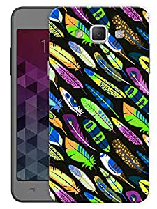 """Humor Gang Multicolored Feathers Printed Designer Mobile Back Cover For """"Samsung Galaxy E5"""" (3D, Matte, Premium Quality Snap On Case)"""