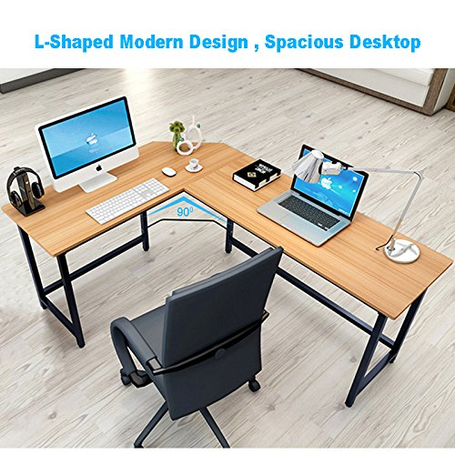 Tribesigns Modern L-Shaped Desk Corner Computer Desk PC Latop Study Table Workstation Home Office Wood & Metal