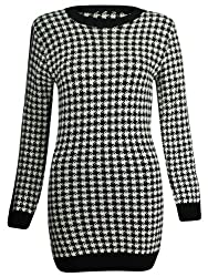 Womens Knitted Monochrome Dogtooth Print Ladies Long Tunic Mini Dress Jumper Top