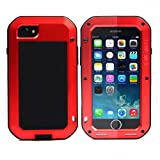 iphone 8 plus case,Feitenn Extreme Hybrid Armor Alloy Aluminum Metal Bumper Soft Rubber Silicone Gorilla glass Military Heavy Duty Shockproof Hard Case For iphone 8 plus (Red) (Color: Red)