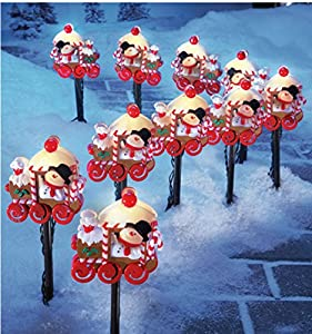 Amazon Com 10 Pc Lighted Snowman Train Christmas Walkway
