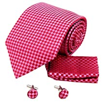 H6067 Red Checkered Relax Fine Silk Ties Cufflinks Hanky Set 3PT By Y&G