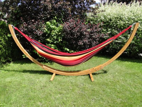 Brazilian Style Double Hammock with Bamboo Stand – Red, Orange & Yellow Stripes