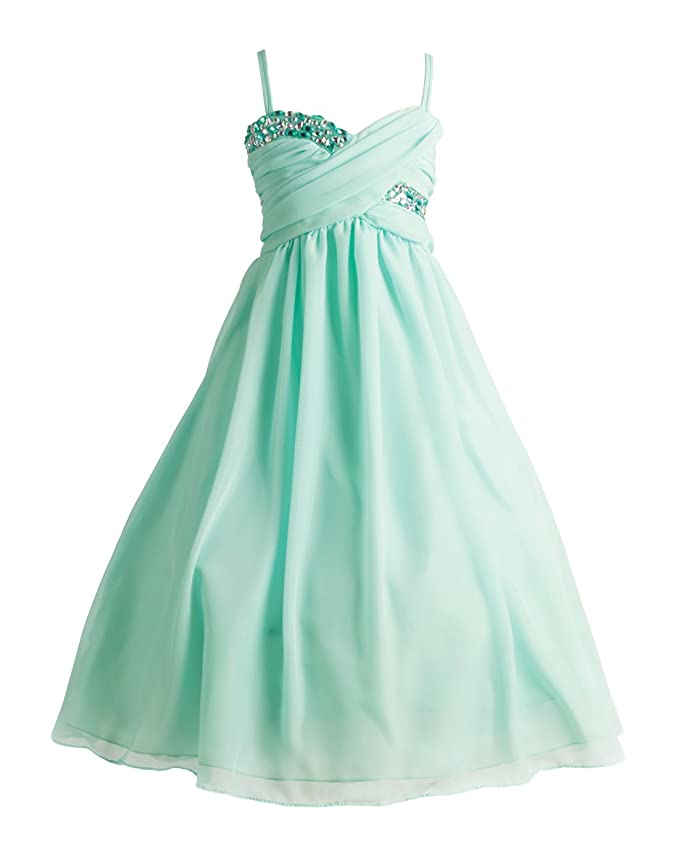Joy Kids - Girls Criss-Cross Ruched Top Chiffon Special Occasion Dress Sizes