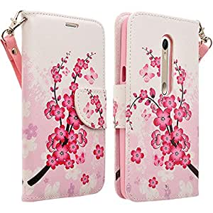 Motorola Driod Maxx 2 Case - Magnetic PU Leather Flip Wallet Folio Pouch Case Cover With Fold Up Kickstand and Detachable Wrist Strap For Moto Driod Maxx 2 / X Play - Lotus