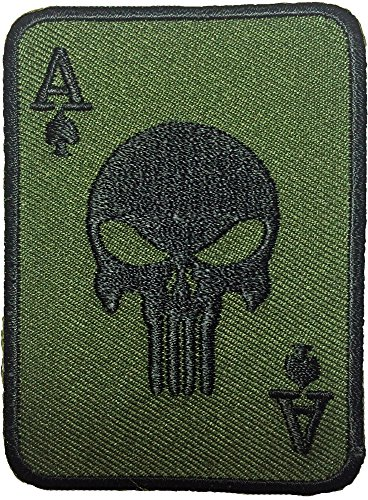 Spade Card Poker Punisher Skull Embroidered Iron on Patch Green (Notre Dame Iron On Patch compare prices)